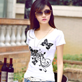 2017 verão Mulheres de Slim Com Decote Em V manga curta impresso t-shirt de algodão branco mulher t-shirt da forma t-shirt do sexo feminino casual vestidos