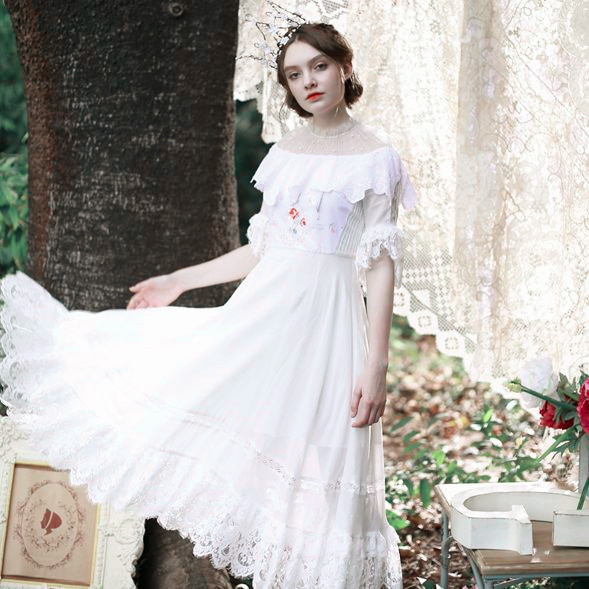 LYNETTE'S CHINOISERIE Summer Original Design Women Limited edition victoria handmade antique embroidered cotton princess dress