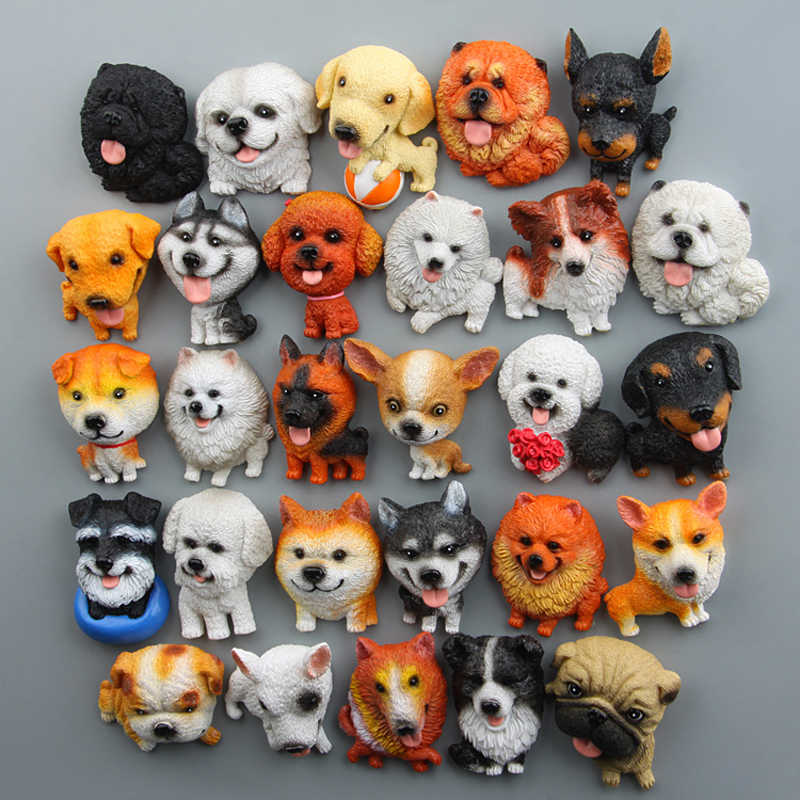 Japanes ブルドッグシベリアンハスキーコーギーパグチワワおもちゃ樹脂河合雑貨子犬フィギュアおもちゃモデル冷蔵庫マグネットのホームインテリア