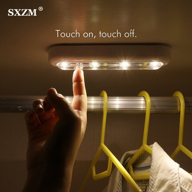 LED Under Cabinet Lights With Touch Sensor Battery Saving Bathroom Wardrobe Lamp for Colest Cupboard Kitchen Night Light