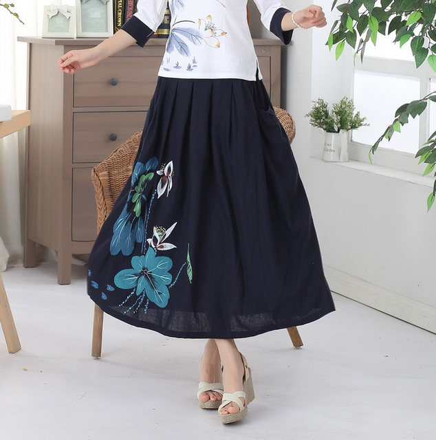 34beb43067 Navy Blue Chinese Style Women's Long Pleated Skirt Vintage Printed Cotton  Linen Skirt Casual Flower Flared Skirts M L P0016