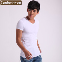Men's Comfort Soft T-Shirt Pure cotton V-NECK Solid Short-sleeve Tees Breathable moisture absorption T602