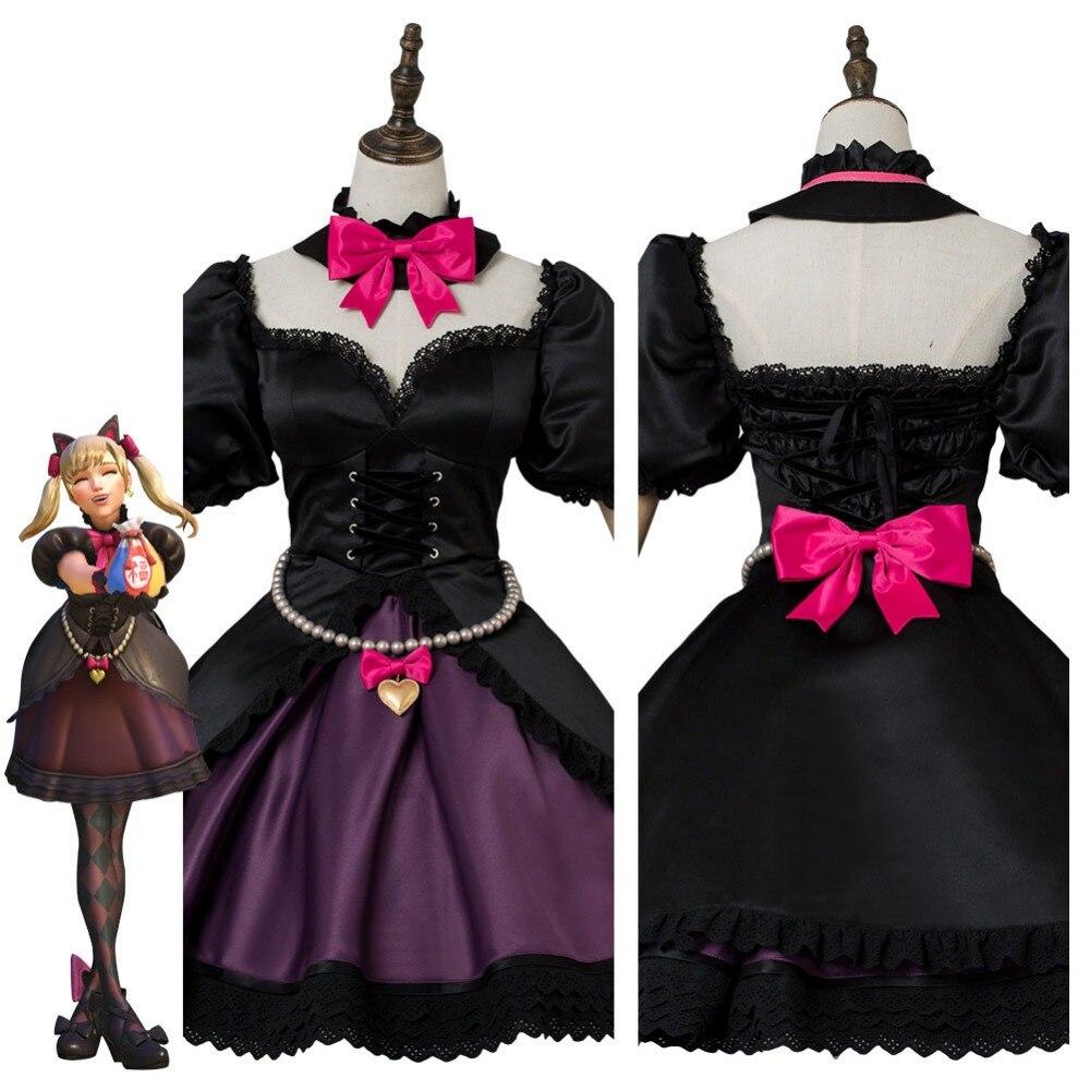 OW D.VA DVA Hana Song Cosplay Costume Black Cat Officer Dress