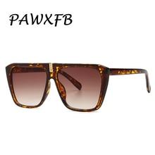 PAWXFB 2019 Retro Square Sunglasses Women leopard Gradient brand Designer Oversized Sun Glasses Fashion Female Shades UV400