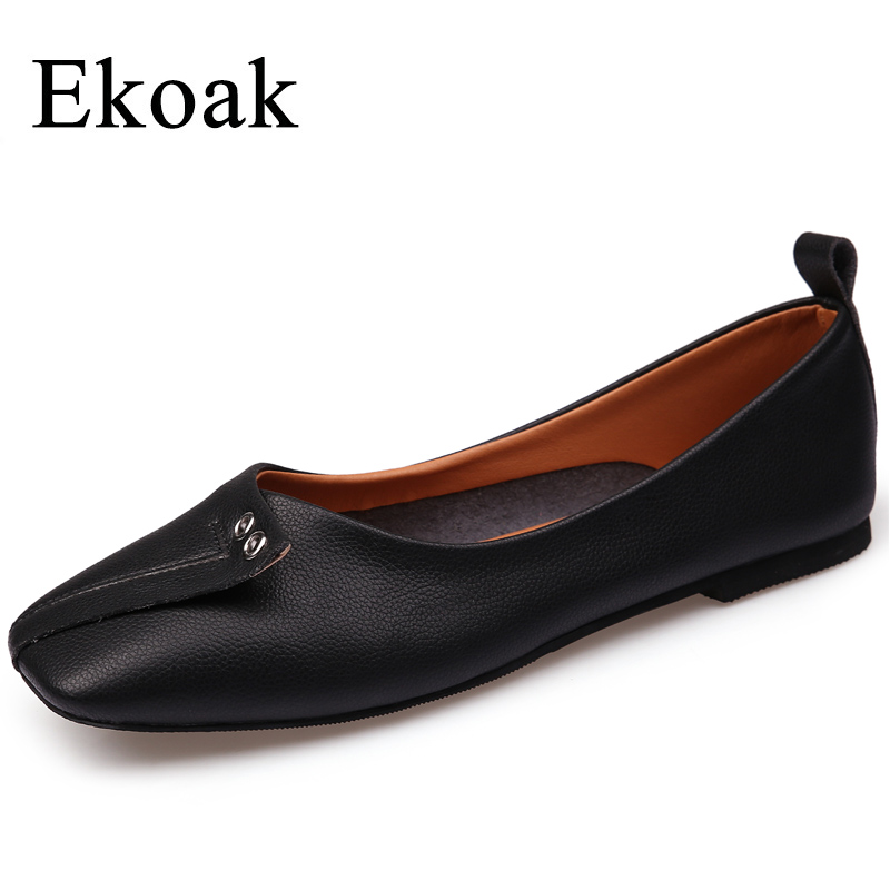 Ekoak New 2018 Spring Genuine Leather Women Shoes Fashion Women Flats Shoes Woman Soft Breathable Women Casual Shoes new 2018 spring summer shoes women flats soft leather fashion women s casual brand shoes breathable comfortable