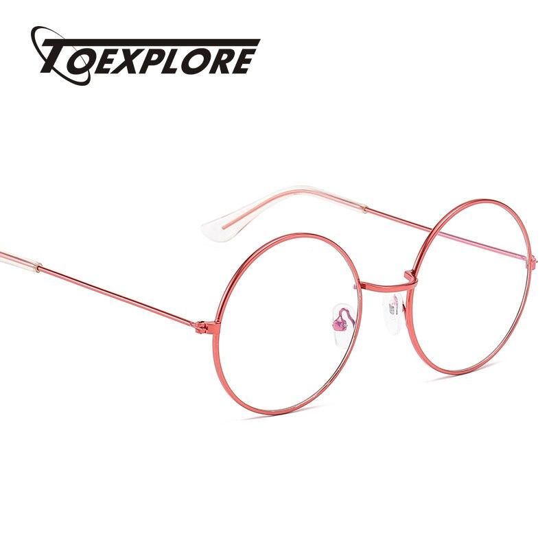 TOEXPLORE Fashion Men Women Metal Eyewear Frame Round Frame Vintage Retro Luxury Optical Glasses Customize Reading Myopia Goggle