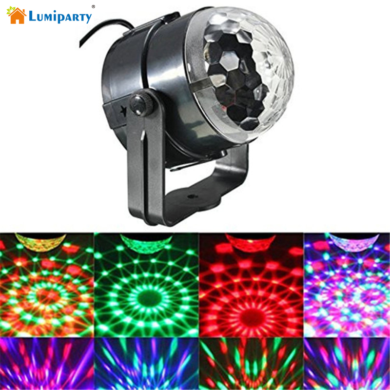 LumiParty Mini Sound Activated RGB LED Crystal Magic Rotating Ball Effect LED Stage Lights with Remote Control jk35