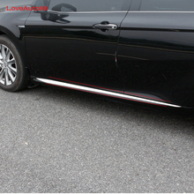 цена на Car styling Auto Side Skirt Car stainless steel Sticker Side Body Door Decoration Trim Accessories For Toyota Camry 2018 2019