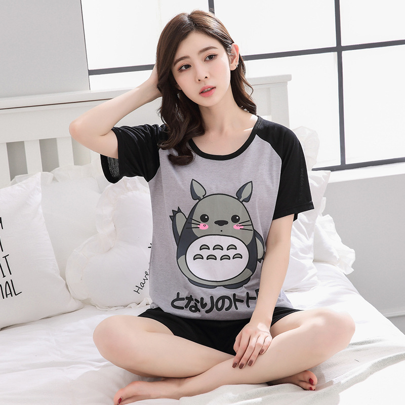 5XL Plus Size Women   Pajama     Set   Summer Short Sleeve Cartoon Pyjamas Casual Cottoon Sleepwear Night Suit Nightwear 3XL 4XL