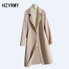 HZYRMY Autumn New Women' Cashmere Double-Faced Woolen coat Solid color Loose Long Winter Warm Thick Wool Fabric Soft Female Coat yuoomuoo new women wool coat autumn winter medium long female cashmere coat european style ladies warm casual grey woolen coats