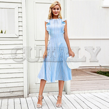 CUERLY 2019 Elegant cotton embroidery women dress Ruffle A-line white Lining hollow out zipper party dresses robe femme