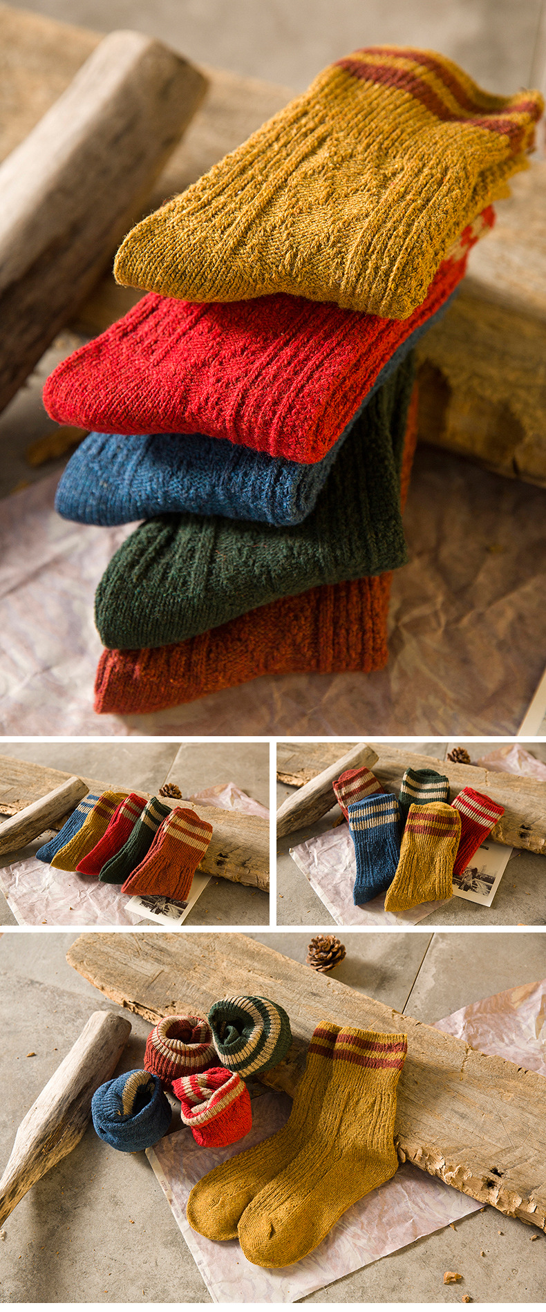 HTB1VOYMah rK1RkHFqDq6yJAFXaw - 5 Colors New Fashion Retro Wool Women Socks Autumn Winter Wamer Cotton Girl Socks Female Japanese Tube Sock Students Hosiery