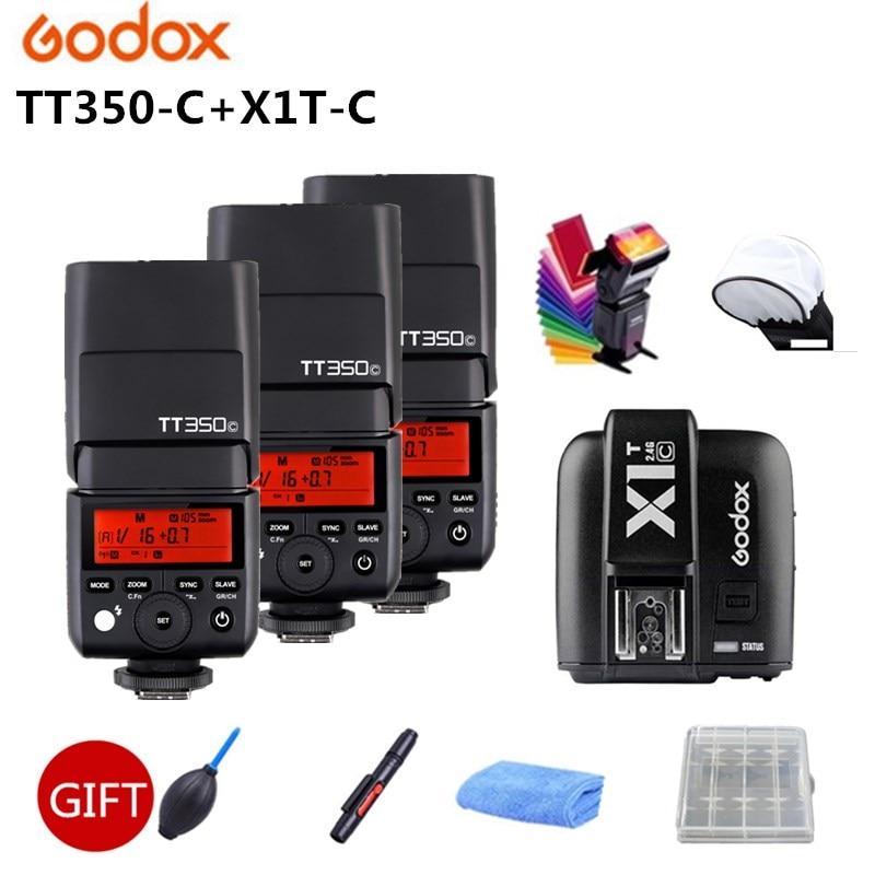 Godox TT350C Flash DC Flitser GN36 2.4G TTL Flash Speedlite + X1T-C Trigger For Canon 500d 450d 7d 5d Mark III Camera