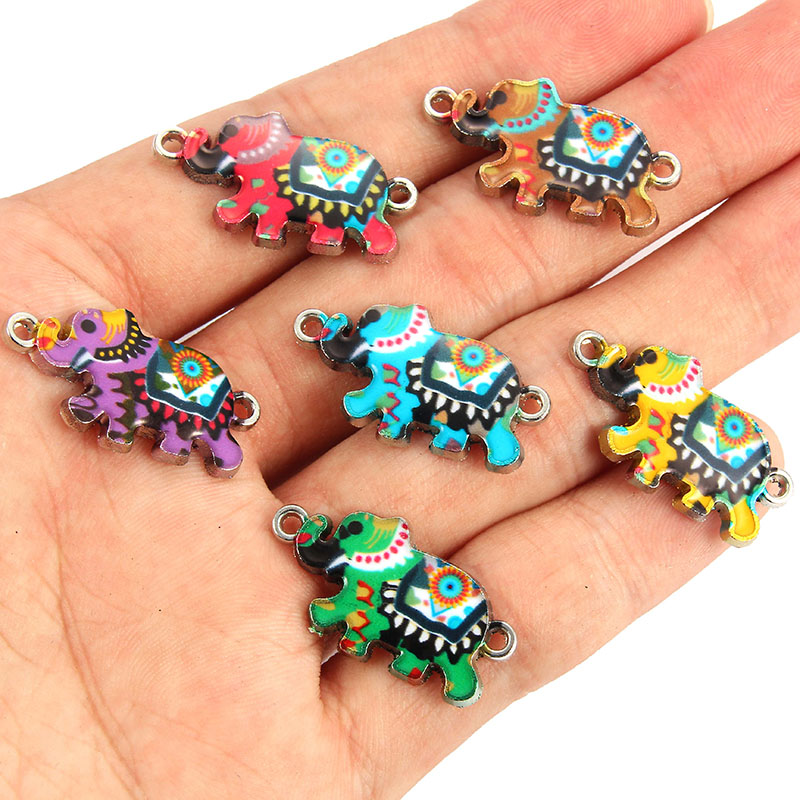 10pcs Enamel Elephant Bracelet Connectors Alloy Charms Jewelry Making Handmade Findings Craft Mix Colors 2.6*1.4cm