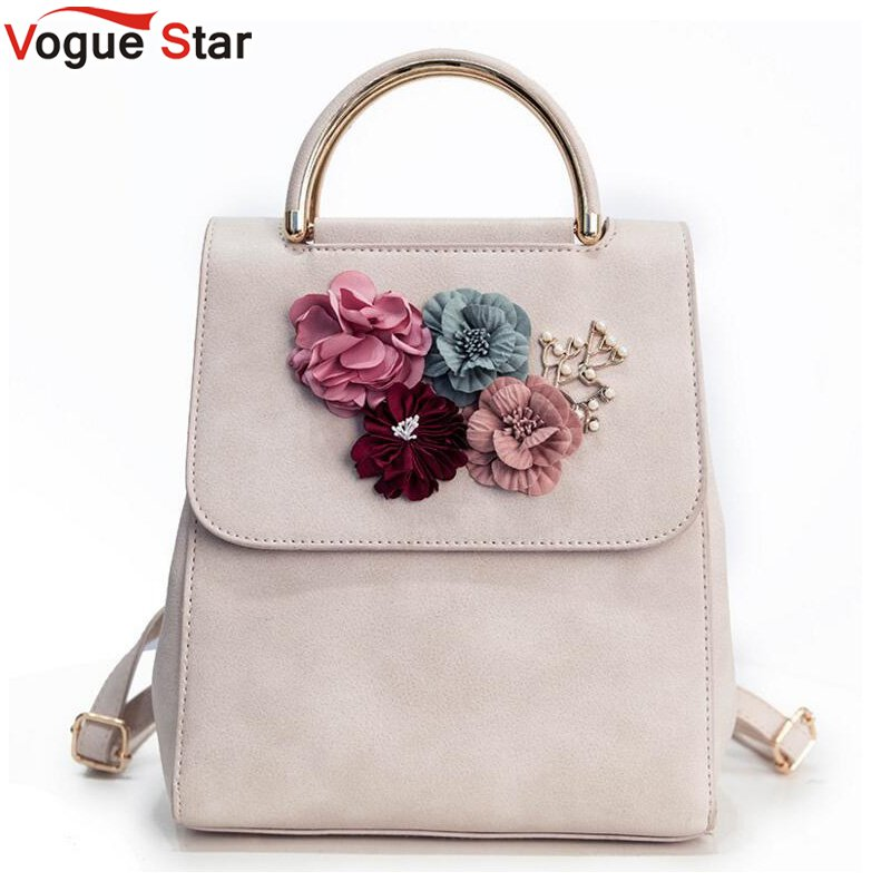 Multifunction Women Small Backpack PU Leather Womens Backpack Beading Flower School Bags For Girls Female Backpack LB229