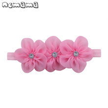 Princess Chiffon Headband With Rhinestone Three Flowers Head Bands Sewing Headdress For Kids Party Hair Accessories(China)