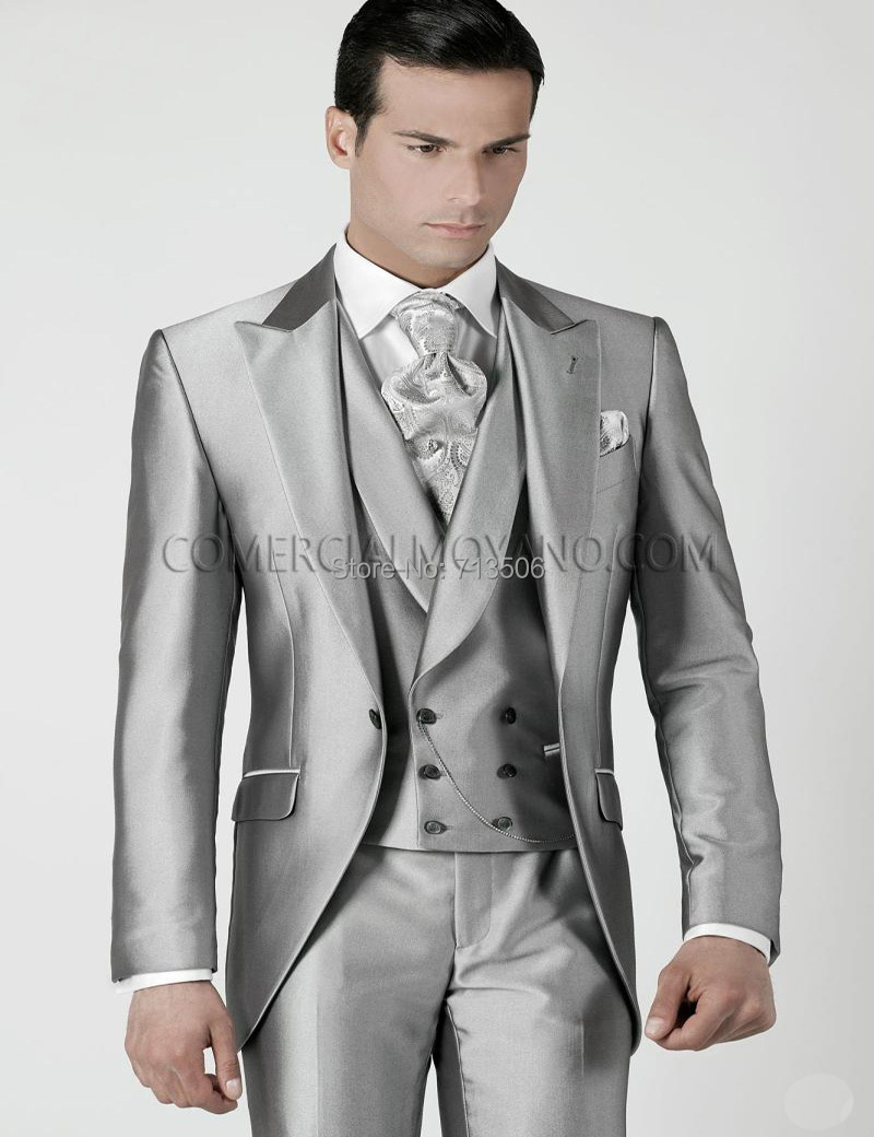 Mens Wedding Suits 2017 Silver Grey Prom Tuxedos Jacket Pants Tie Vest Custom Made