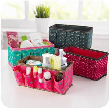 New Fashion Makeup Cosmetic Storage Box Bag Bright Organiser Foldable Stationary Container