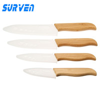 SURVEN 4pcs Zirconia Ceramic Knife Set 3 4 5 6 Inch White Blade Bamboo Handle Fruit