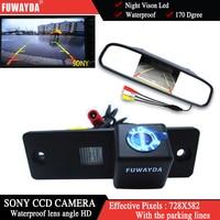 FUWAYDA kolor SONY CCD Chip widok z tyłu samochodu kamera dla Toyota 4 Runner/Land Cruiser Prado 2010 + 4.3 cal lusterko wsteczne Monitor w Kamery pojazdowe od Samochody i motocykle na
