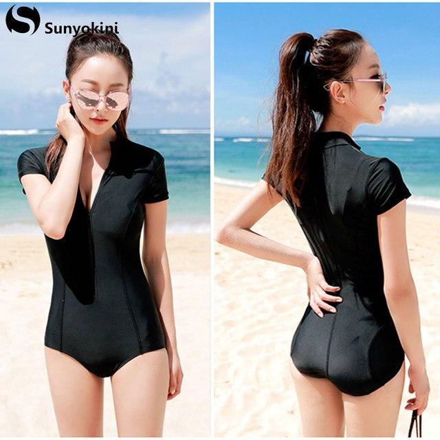ee1e4979ce Sunyokini 2018 Plus Size One Piece Swimsuit Zipper One-Piece Sexy Swimwear  Black Deep V