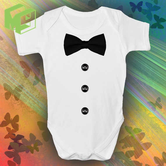 d3d103e7a5e Baby short Sleeved One Piece 100%Cotton DICKIE BOW Babies Onesie for 0 12M  Newborn Girl Boy white romper New Mom Dad-in Rompers from Mother   Kids on  ...