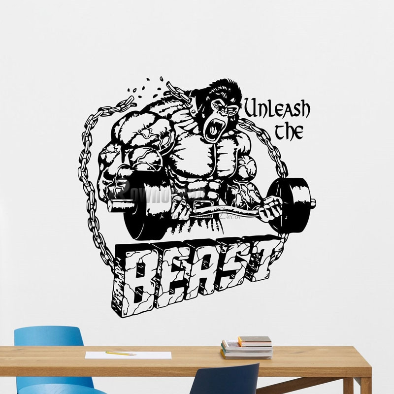 Free Shipping Beast Mode Gym Wall Decal Fitness Vinyl Sticker ...