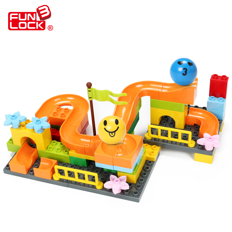 21pcs FUNLOCK Legoe Duplo Marble Run font b Block b font Pack Educational Creative Toys For