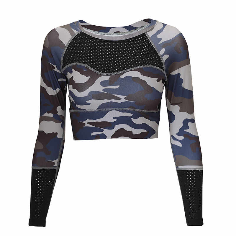 1dd457ab44a45 ... Yoga Top Padded T-shirt long sleeve Shirts Patchwork Gym Camouflage  black Crop Tops Mesh ...