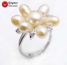 Qingmos модное кольцо с натуральным розовым жемчугом для женщин