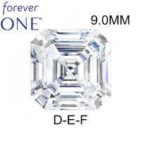 Сертифицированный Charles Colvard Forever One 3CT Effect VS DEF огранка камня «asscher Cut» бесцветный Муассанит без огранки драгоценный камень, бриллиант
