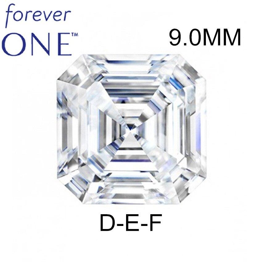 Certifié Charles Colvard Forever un effet 3CT VS DEF Asscher coupé sans couleur Moissanite en vrac testeur de diamant de pierres précieuses passé