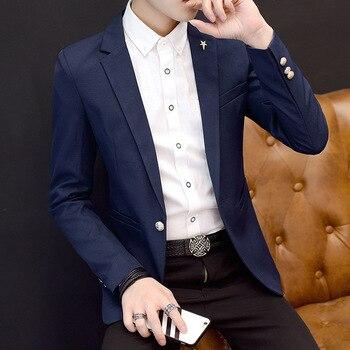 2020 spring new men's casual blazer youth slim solid color blazer