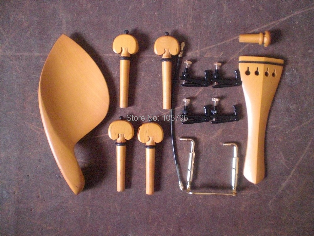 ФОТО 3 Set Boxwood Violin fitting 4/4 with Black gold tuner clamp and tail guts