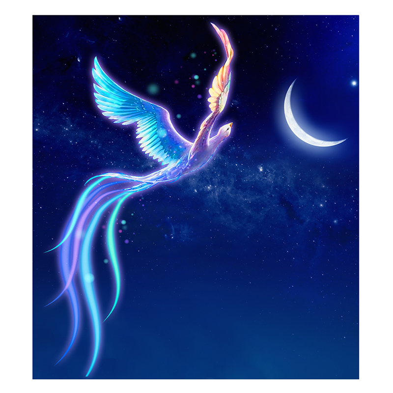 DIY 5D Diamond Cross Stitch Diamonds Embroidery Flying Bird Fairy Phoenix Blue Diamond Mosaic Hone Decoration 38*42cm