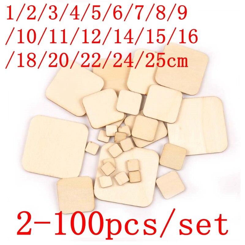 2-100 шт., деревянные диски в форме сердца, 1-25 см