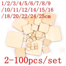 2-100 pcs DIY Blank squar Wood Slices Discs Heart Love Unfinished Natural Crafts Supplies Wedding Ornaments 1cm-25cm