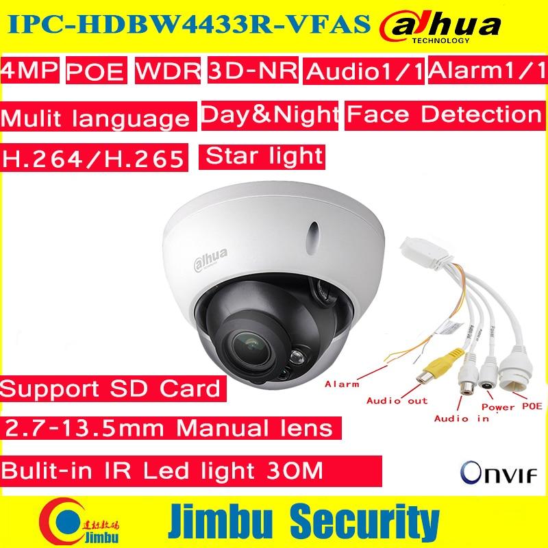 Dahua IP Camera 4Mp POE IPC-HDBW4433R-VFAS 2.7-13.5mm Manual zoom lens with SD card slot Starlight camera dahua ip camera poe 4mp ipc hdbw4433r zs starlight 2 7mm 13 5mm motorized lens h2 65 ir50m sd card slot ip67 ik10