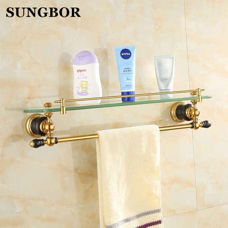 brass single tier bathroom shelves gold antique glass shelf bathroom wall retro bathroom shelf towel bar s8113k