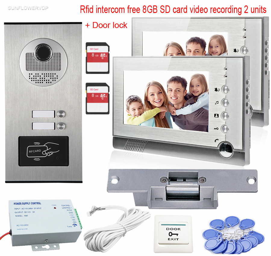 Video Intercom With 2 Monitors 7 Color 8GB SD Card Recording Video Door Phone Rfid Access Camera For 2 Apartments+Electric Lock 3 monitors 7 video intercom with reording 8gb tf memory cards intercom door rfid camera for 3 apartments electric strike lock