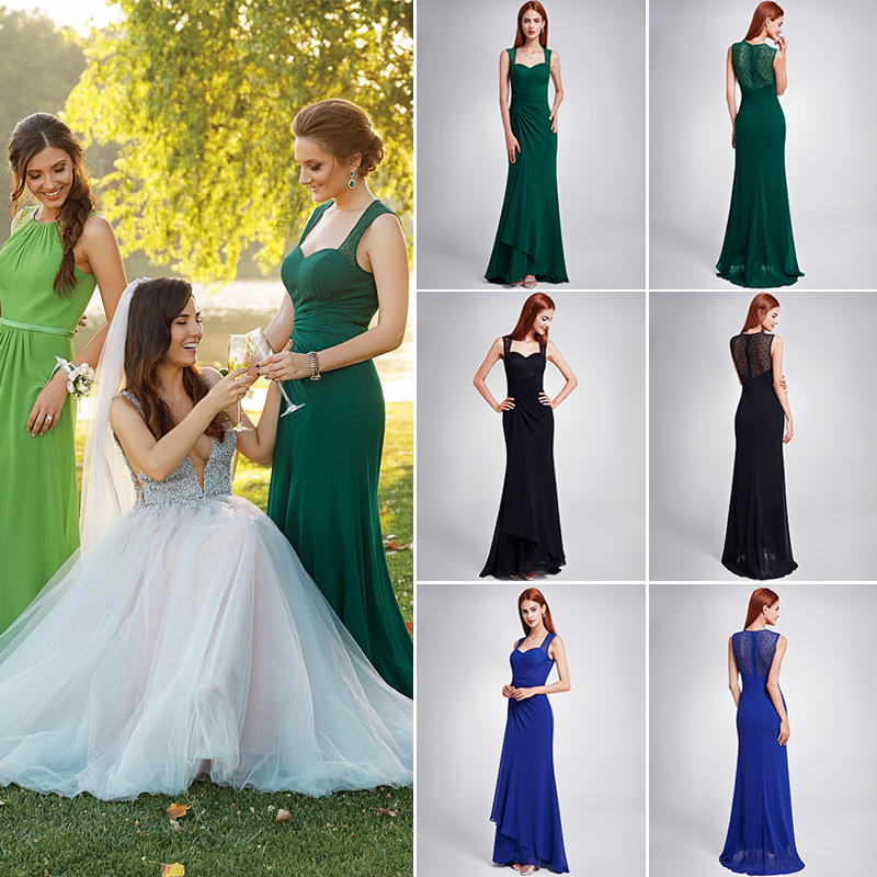 Ever Pretty Sexy Party Lace Long   Prom     Dresses   2018 EP08776 Royal Blue Black Evening Party   Dress   Vestido de Festa Longo