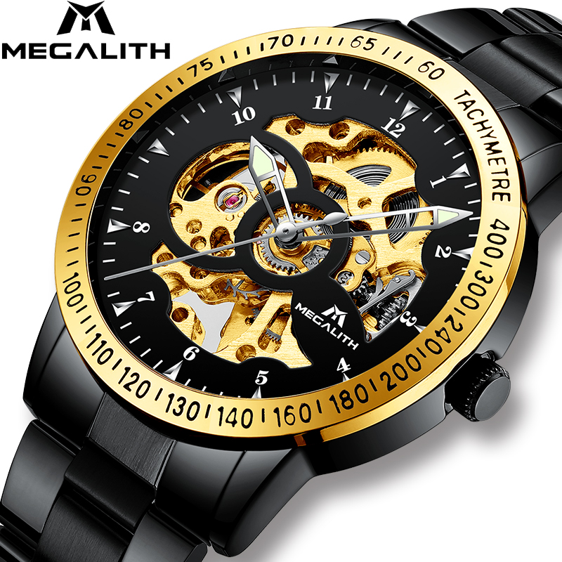 MEGALITH Luxury Hollow Automatic Mechanical Men s Watch Waterproof Stainless Steel Black Gold Case Automatic Watches