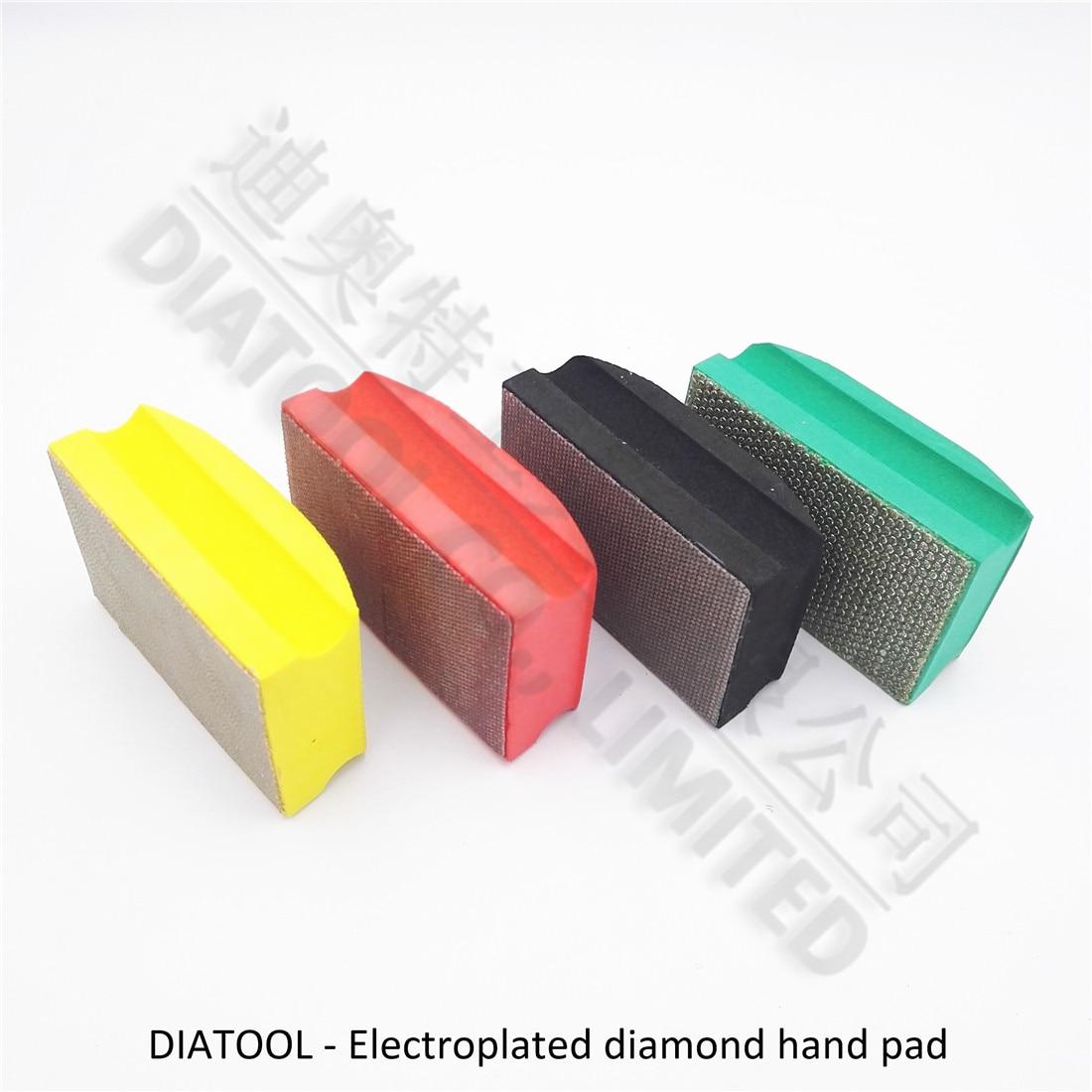 DIATOOL 2pcs Dotted Electroplated Diamond Hand Polishing Pad 90X55MM Hard Foam-backed Hand Pad