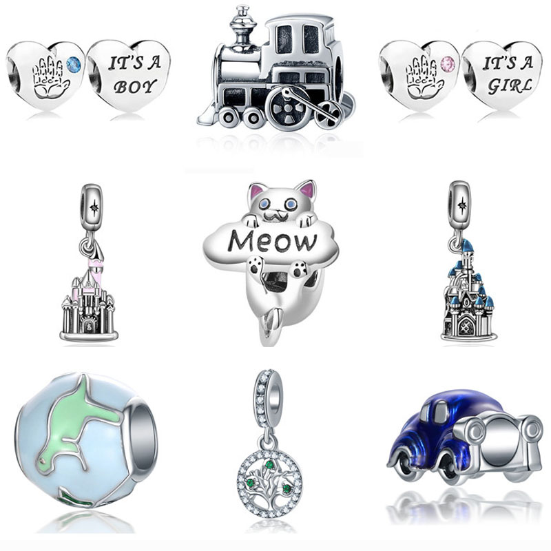 Fashion 925 Silver Crystal train Charm European Beads Fit Necklace Bracelet !!
