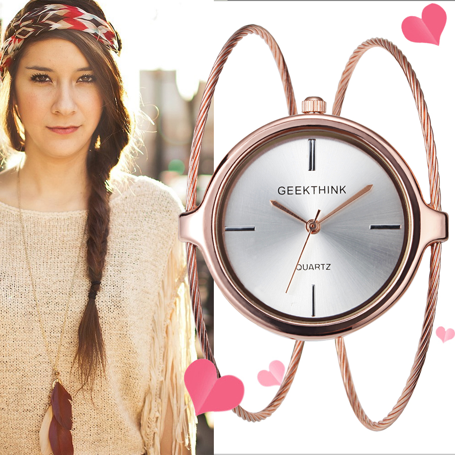 GEEKTHINK 2017 Unique Fashion Brand Quartz Watch Women female Dress Girls Bracelet Bangle Casual Double Ring