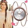 Geekthink 2017 marca de moda único reloj de cuarzo de las mujeres vestido de mujer niñas brazalete de la pulsera casual reloj de pulsera de doble anillo de acero