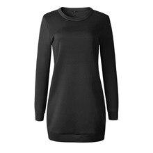 4 Colors Autumn Winter Women Long Sleeve O Neck Cotton Dress Black Casual Straight Basic Mini Sweatshirt Style Vestidos
