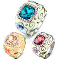 Mytys Crystal Ring Flower Pattern Stylish Color Ring for Party Gold Plated Cooper Alloy Jewelry R195 R503 R948