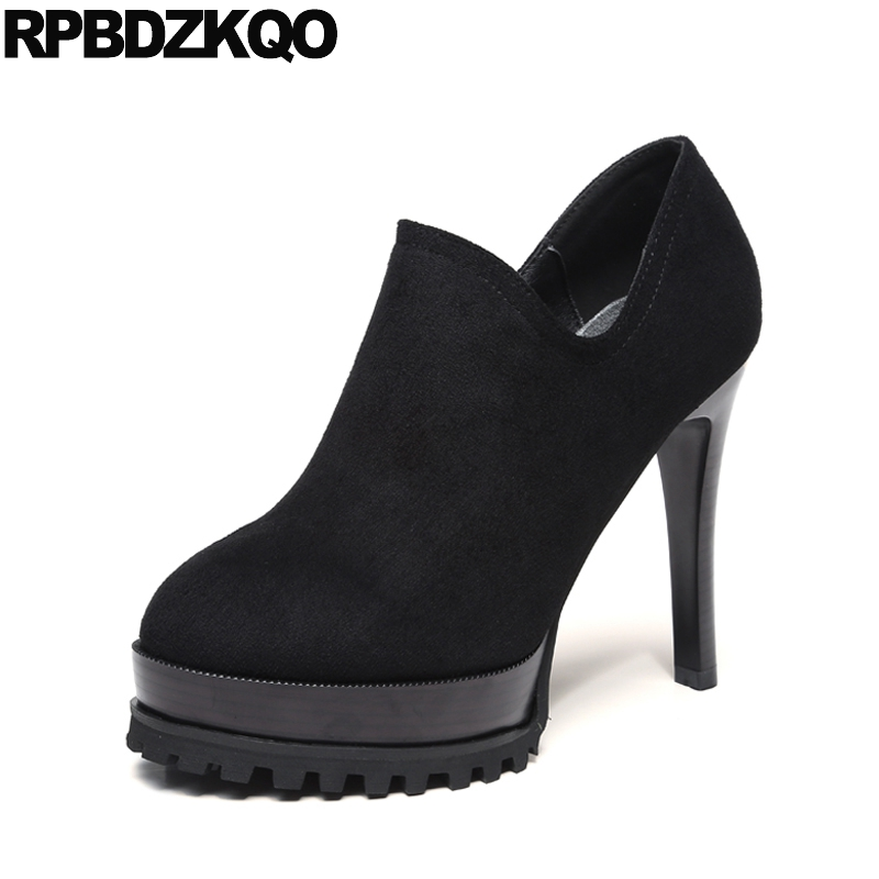 Round Toe High Heels Ladies Ultra Size 4 34 Super Platform Fashion Pumps Suede Stripper Scarpin Sexy Black Chinese Spring Autumn black ladies cool casual pumps wedge korean slip on high heels suede creepers big size 4 34 green platform shoes round toe
