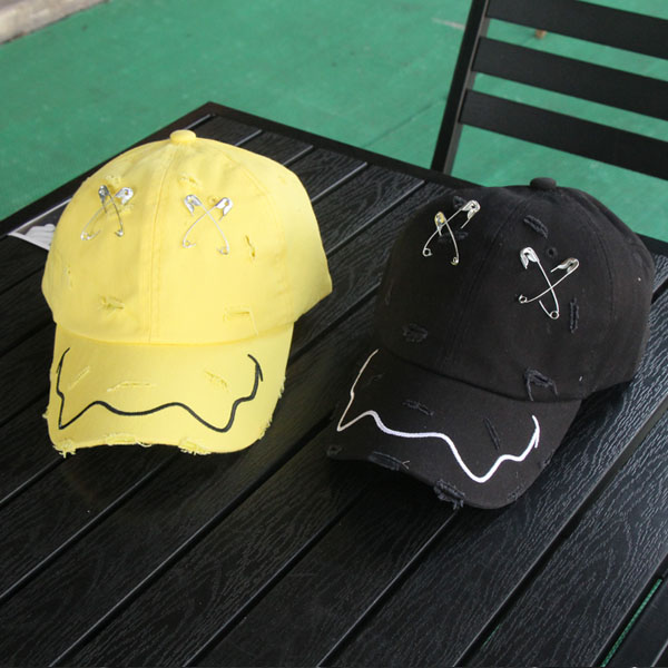 BIGBANG GD Spring Summer Brooch hat pin Hip Hop Holes baseball cap